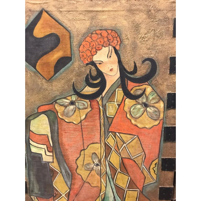 Fabulous imagery in the faces and costumes of the people on this Art Deco Asian screen. Large, standing at almost 6 feet...