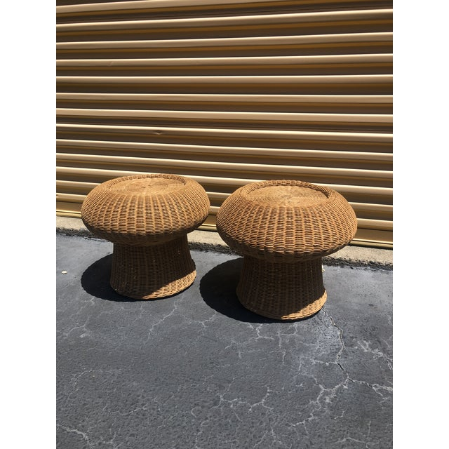 1960s Eero Aarnio Mushroom Style Wicker Ottomans - a Pair For Sale In Charleston - Image 6 of 6