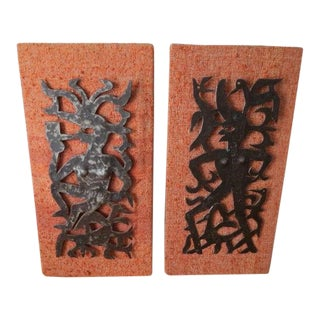 1960s Vintage Joseph Louis Juste Metal Wall Sculptures - A Pair For Sale