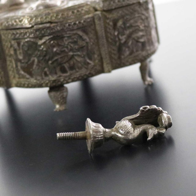Metal Antique India Pierced Silver Overlay Spice Box With Six Compartments For Sale - Image 7 of 13