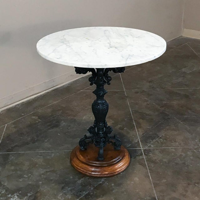 19th Century Cast Iron Marble Top Café Table For Sale - Image 4 of 11