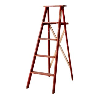 Vintage Red Wood Ladder For Sale
