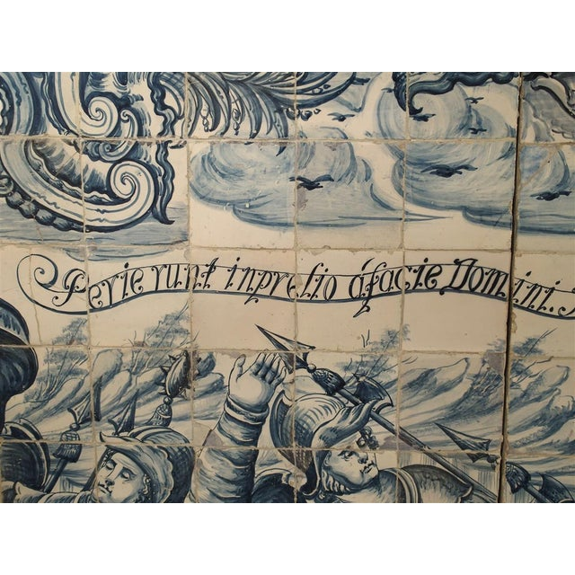 Monumental 3-Piece 18th Century Azulejo Mural Panel From Portugal For Sale - Image 4 of 13