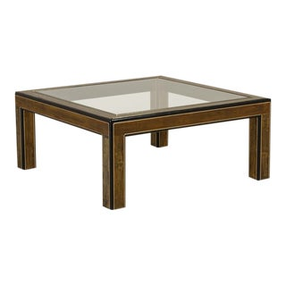 Square Mastercraft Acid-Etched Brass and Ebonised Coffee Table For Sale