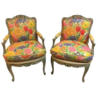 Louis XV Style Polychrome Decorated Fauteuils - A Pair For Sale