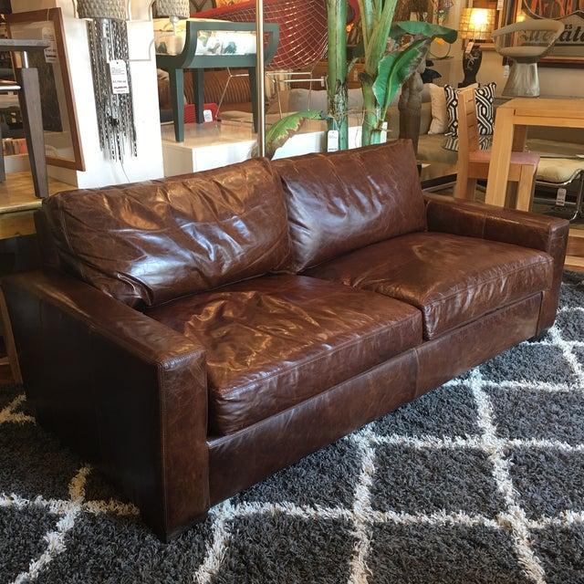 Restoration Hardware Petite Maxwell Leather Sofa - Image 5 of 9