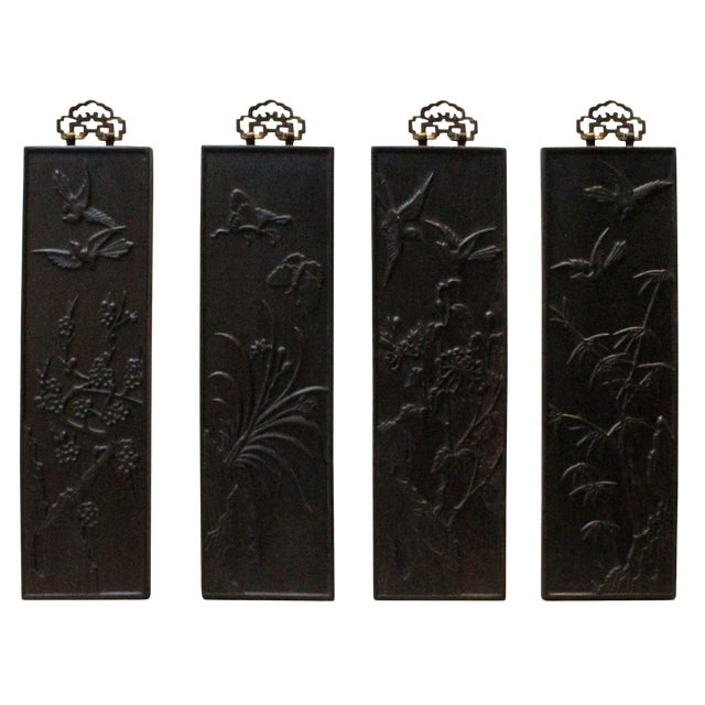 Chinese Set of 4 Birds & Flowers Wood Decor Wall Panels For Sale