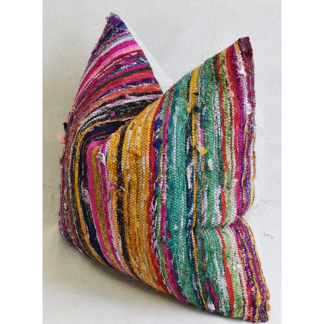 "Colorful Turkish Striped Rag Rug & Linen Feather/Down Pillow 22"" Square For Sale In Los Angeles - Image 6 of 8"