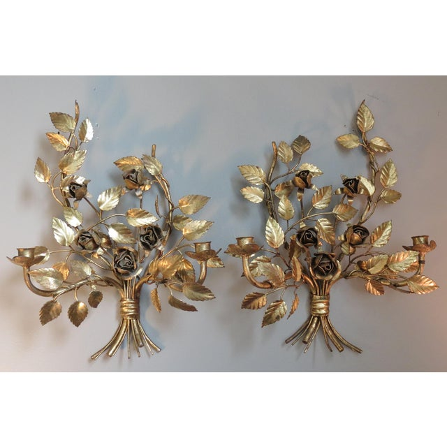 Vintage Italian Gilded Tole Wall Sconces - a Pair - Image 2 of 8