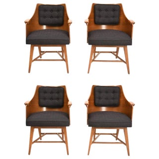 Edward Wormley for Dunbar Chairs, Rare Set of Four, 1950's For Sale
