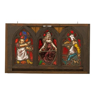 Gothic Gasthaus Stained Glass Window Triptych Circa 1880s