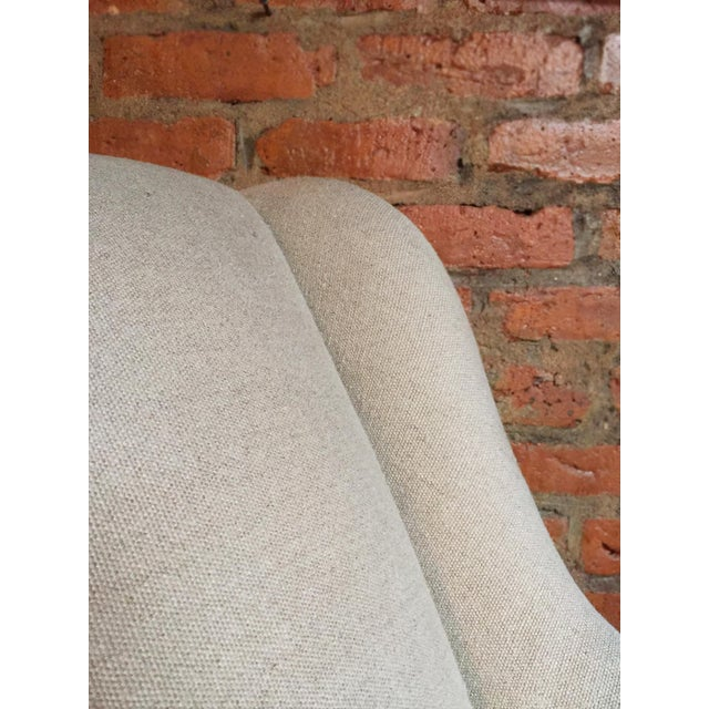 1940s Danish Chaise Lounge in Belgian Linen For Sale In New York - Image 6 of 13