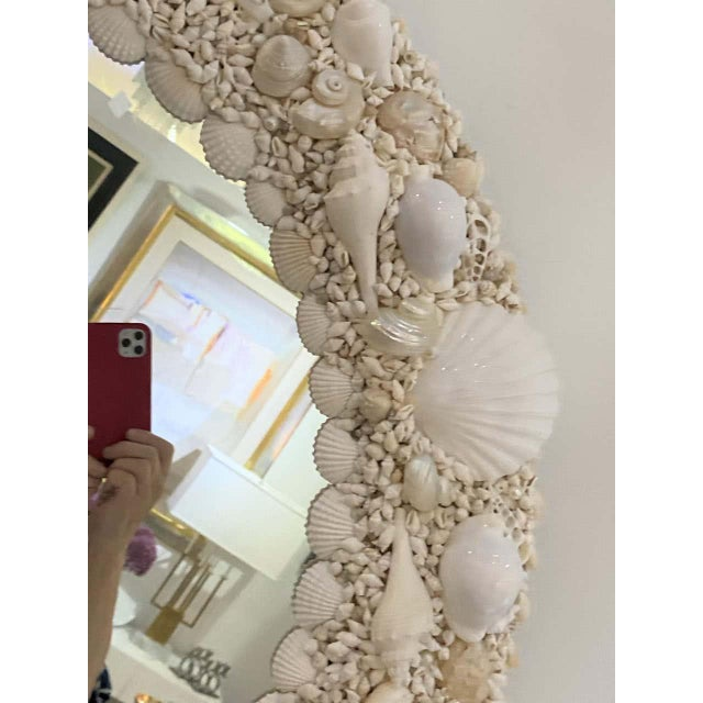 2010s White Seashell Encrusted Mirror bySnob Galeries For Sale - Image 5 of 13