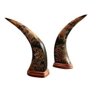 Vintage Asian Hand Carved Horns - A Pair
