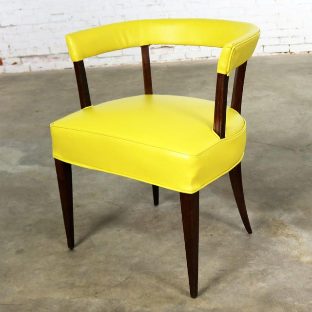 Mid 20th Century Mid Century Modern Yellow Vinyl and Oak Barrel Back Side Chair For Sale - Image 5 of 13