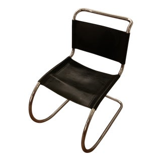 1970s Vintage Black Leather Mr Side Chair For Sale