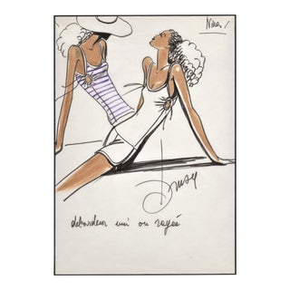 Rare Matted Original 1980's French Fashion Drawing-Summer Beach Cruise Wear For Sale