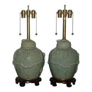 Marbro Italian Porcelain Table Lamps Celadon Green For Sale