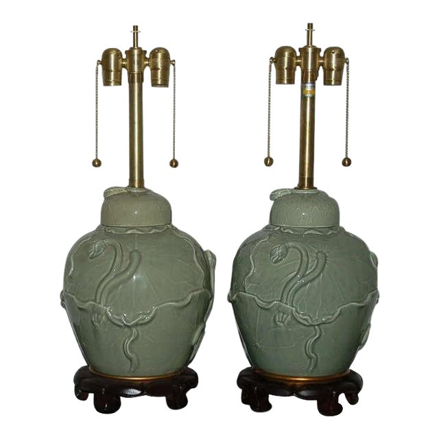 Marbro Italian Porcelain Table Lamps Celadon Green For Sale