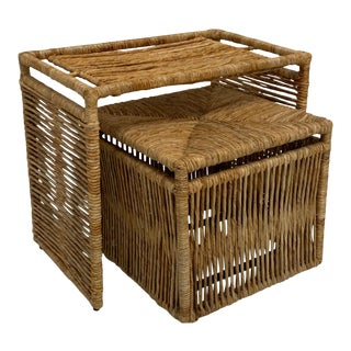 Rattan Jute Rope Wrapped Nesting Tables For Sale