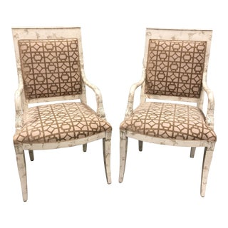 Mid-20th Century Distressed Swan Head Arm Chairs- a Pair For Sale