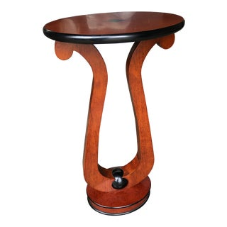 Neoclassical Style Accent Table With Lyre Base