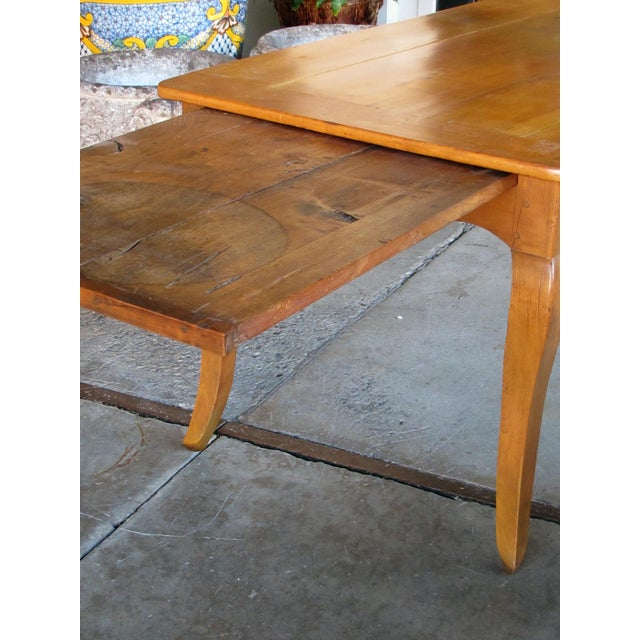 A Handsome, Rustic and Sturdy French Country Cherry Wood Farm Table With Drawer and Slide For Sale In San Francisco - Image 6 of 7