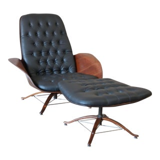 """George Mulhauser for Plycraft """"Mr. Chair"""" and Ottoman"""