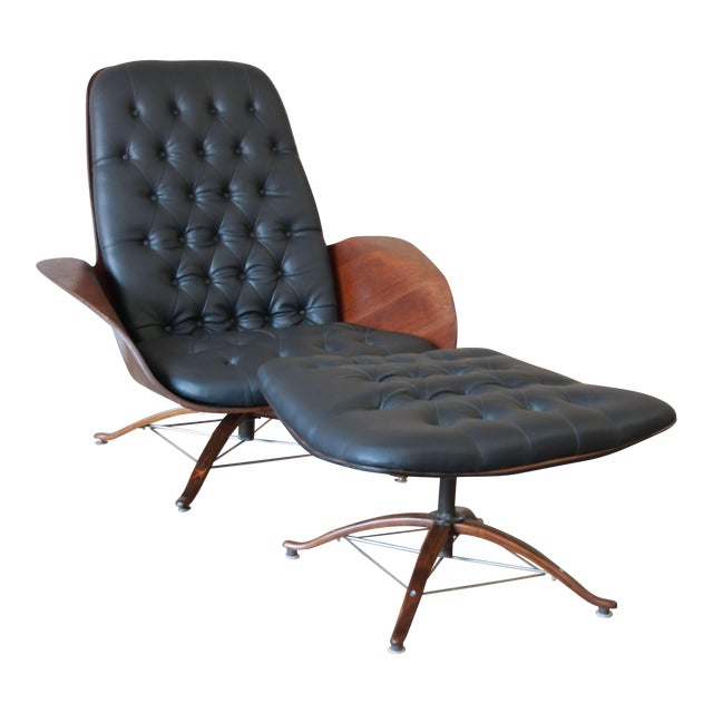 """George Mulhauser for Plycraft """"Mr. Chair"""" and Ottoman For Sale"""