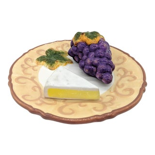 Trompe l'Oeil Grapes and Cheese Fruit Plate For Sale