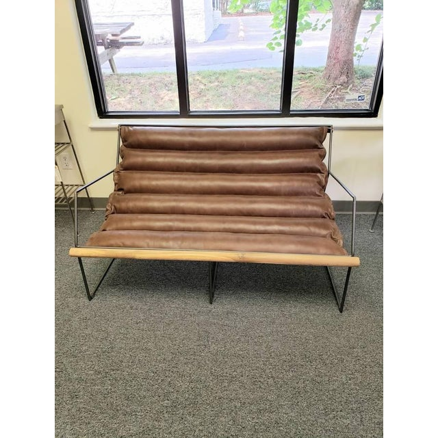 Modern Mid Century Style Style Brown Leather & Metal Sling Loveseat For Sale - Image 4 of 12