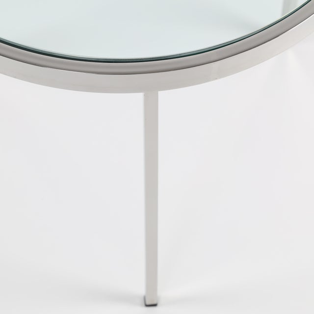 Silver 1970's VINTAGE MILO BAUGHMAN ROUND CHROME SIDE TABLE For Sale - Image 8 of 8