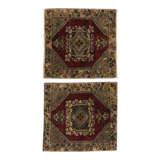 Vintage Turkish Oushak Yastik Scatter Rugs - 03'00 X 03'00 - a Pair For Sale