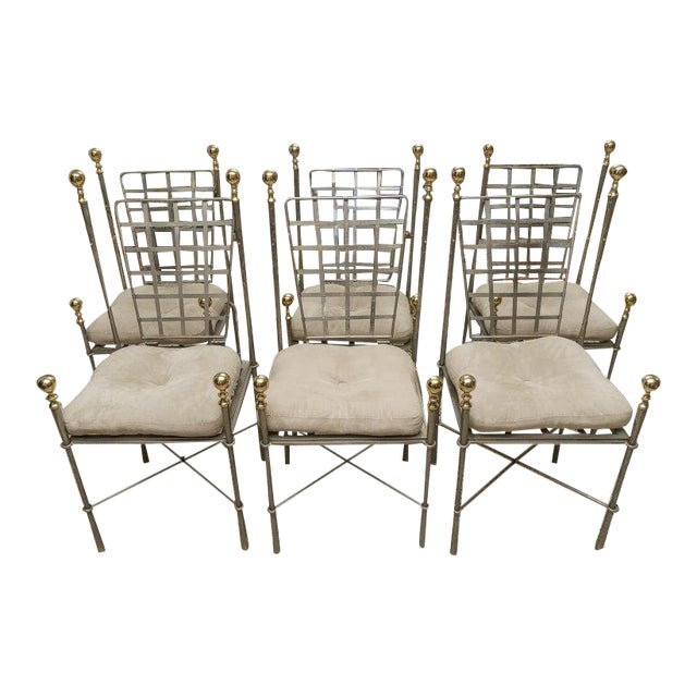 Campaign Style Dining Indoor/Outdoor Chairs in Steel and Brass by Mario Papison for Salterini - a Set of 6 For Sale