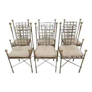 Mario Papperzini for Salterini Campaign Style Dining Indoor/Outdoor Chairs in Steel and Brass - a Set of 6 For Sale