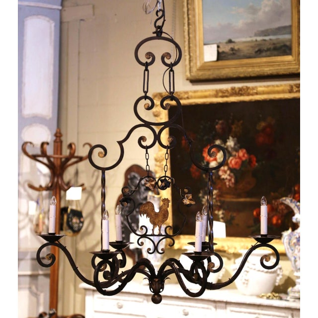 French Early 20th Century French Six-Light Iron Chandelier With Center Rooster For Sale - Image 3 of 13