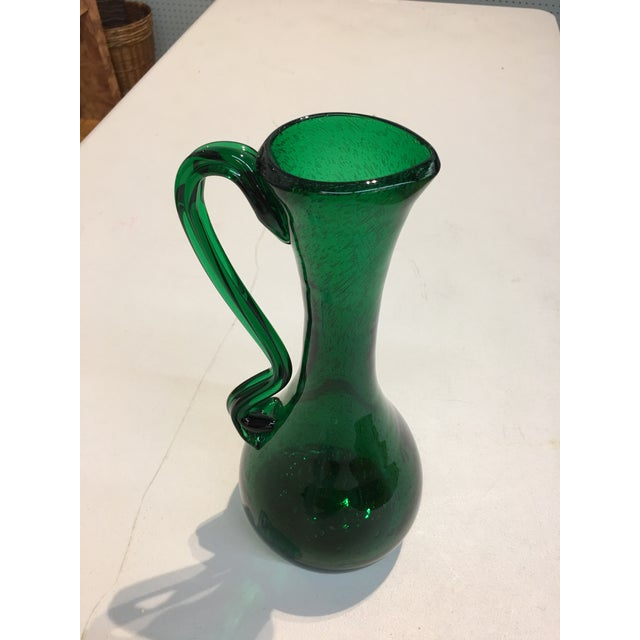 Abstract Royal Leerdam Emerald Green Art Glass Pitcher For Sale - Image 3 of 7