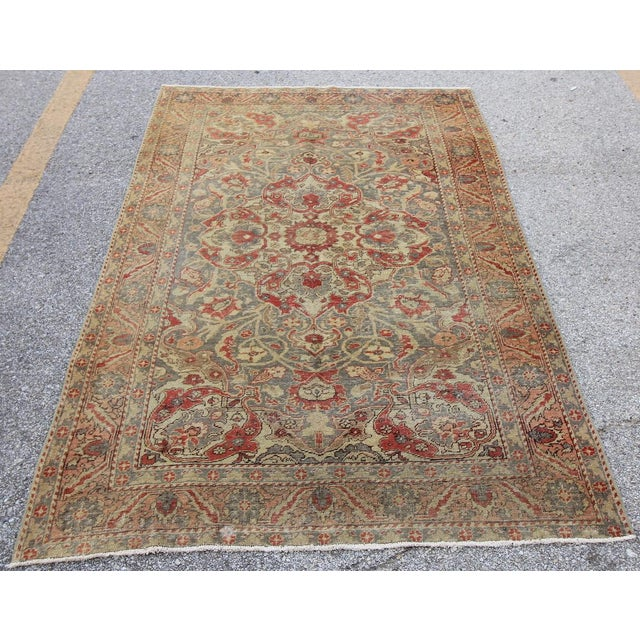 Islamic Antique Turkish Oushak Hand Knotted Rug - 4'8 X 7' For Sale - Image 3 of 5