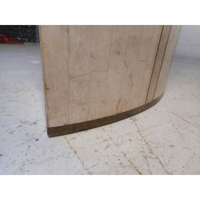 Brass Vintage Modern Tessellated Marble and Glass Hall Table After Maitland-Smith For Sale - Image 8 of 12