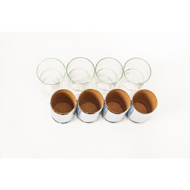 Mid Century Highball Cocktail Glasses With Silver Cork Liners For Sale - Image 10 of 11