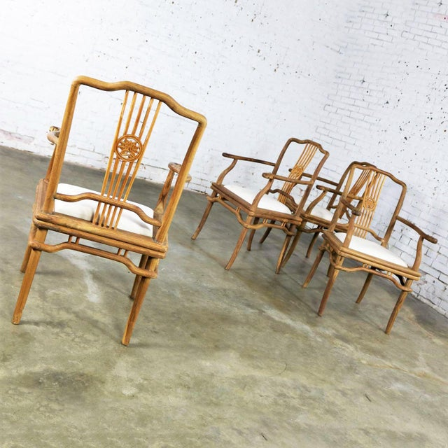 Wood Set of Four Natural Teak Indonesian Ming Style Dining Armed Chairs With Upholstered Seats For Sale - Image 7 of 13