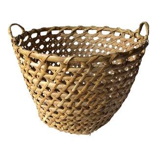 Vintage Hand-Woven Large Basket For Sale