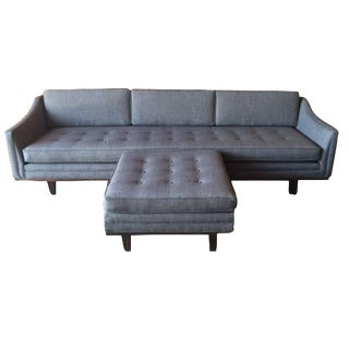 Mid-Century-Style Tufted Sofa with Ottoman For Sale