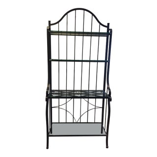 Country Charleston Forge Bakers Rack With Glass Shelves For Sale