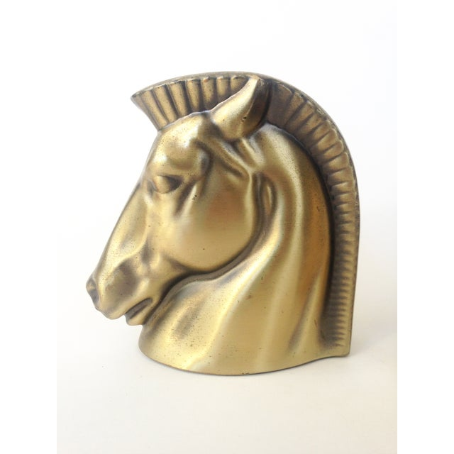 Vintage Gold Tone Horse Head Bookends - Image 3 of 5