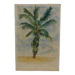 "Vintage Mid-Century ""Tropical Tree"" Original Watercolor Painting n For Sale"