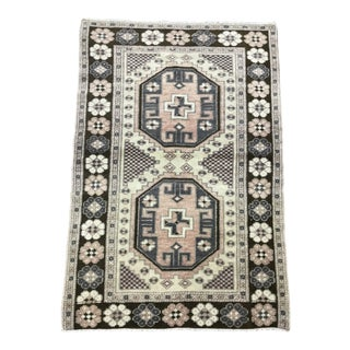 1980s Turkish Small Handmade Rug - 2′8″ × 3′11″ For Sale