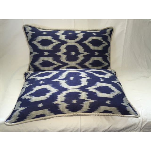Navy Blue & Gray Silk Atlas Ikat Pillows - A Pair For Sale - Image 5 of 5