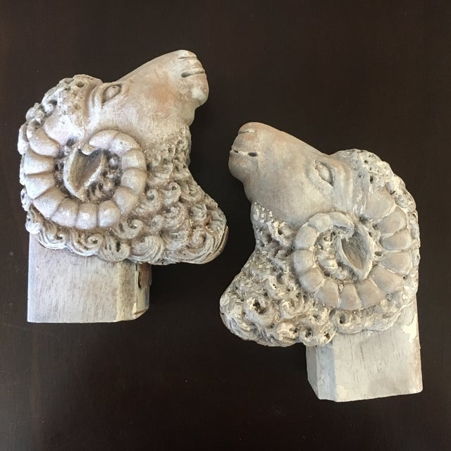 Carved Wooden Ram's Heads Bookends - Pair - Image 2 of 8