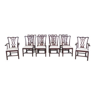 1990s Vintage Henkel Harris Model #107 Mahogany Dining Room Chairs- Set of 10 For Sale